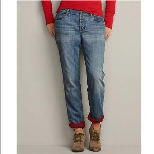 Eddie Bauer Boyfriend Flannel Lined Jeans Denim